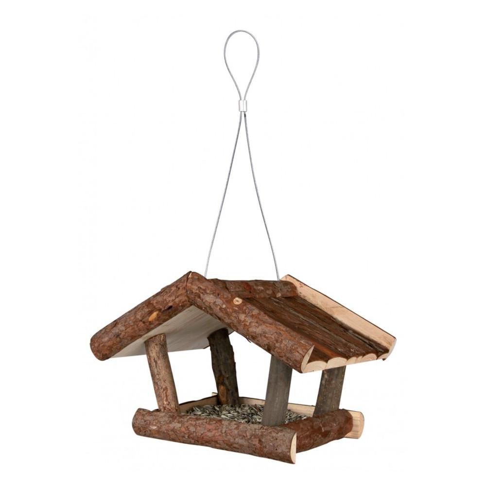 Hangend voederhuis boomschors dak