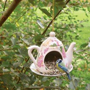 Theepot - Gele/roze rozen