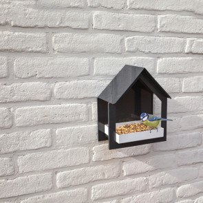 Muurvoedertafel Antraciet/wit design