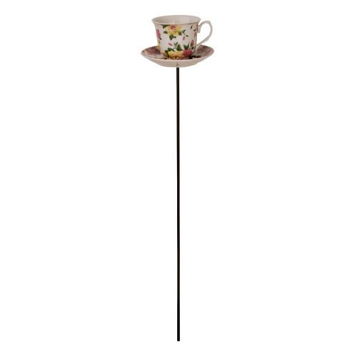 Vogelvoeder - Thee/koffie kopje - Geel/roze rozen