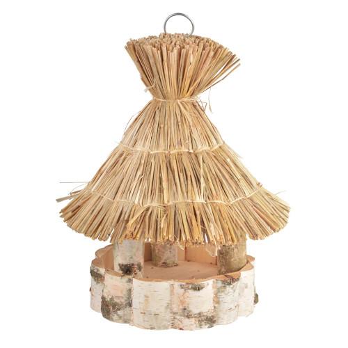 Voedertafel hangend - berk met stro dak